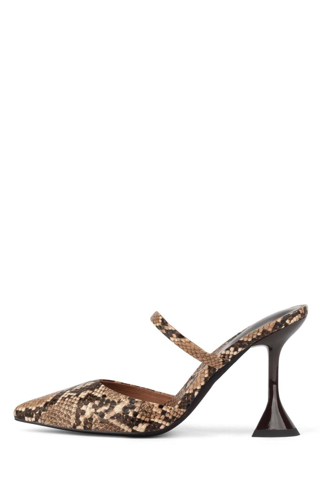 ZIVOT Heeled Mule ST Beige Snake Brown Patent 6