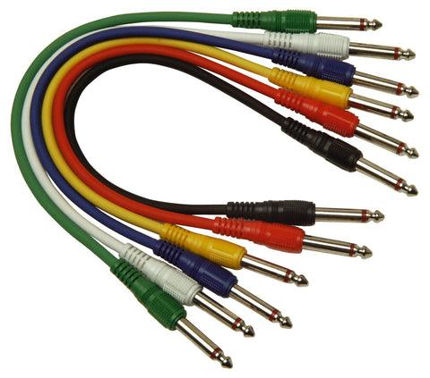 0.3M Jack To Jack Patch Cables Pack of 6