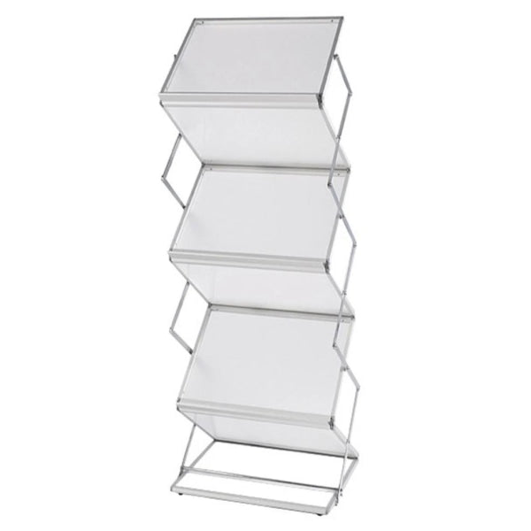 5 Pocket Double Wide Frosted Acrylic Literature Stand - Literature Stands