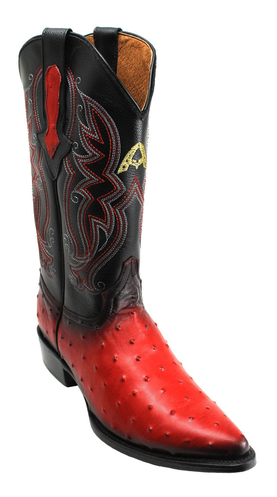 Admirable® Ostrich Print Boots (Shaded Red)