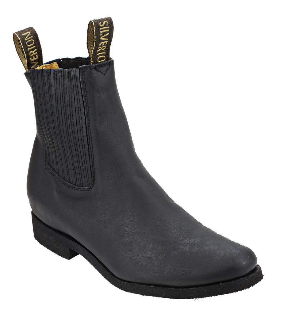 Silverton® All Leather Ankle Boots (Black/Zig Zag Sole)