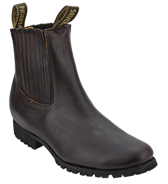 Silverton® All Leather Ankle Boots (Brown/Tractor Sole)