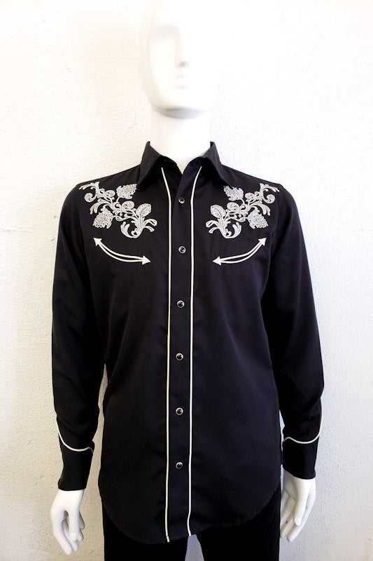 Roper Men's Black western Long Sleeve Shirt 03-001-0040-024 BL
