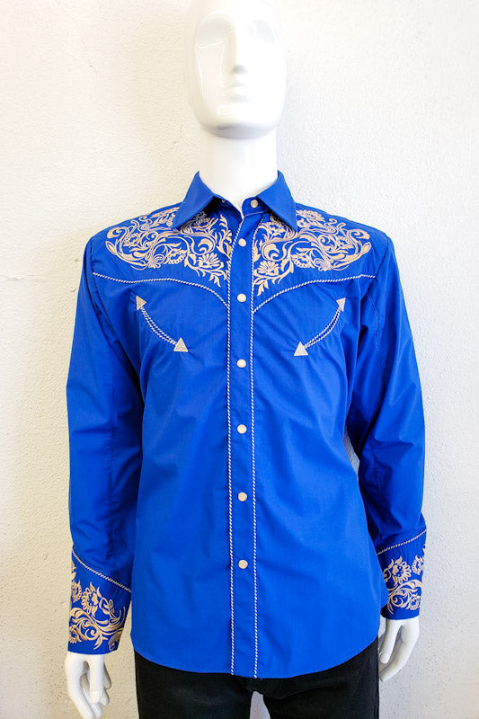 Ace of Diamond Men's Royal Blue Western Long Sleeve Shirt 04490 ROYAL