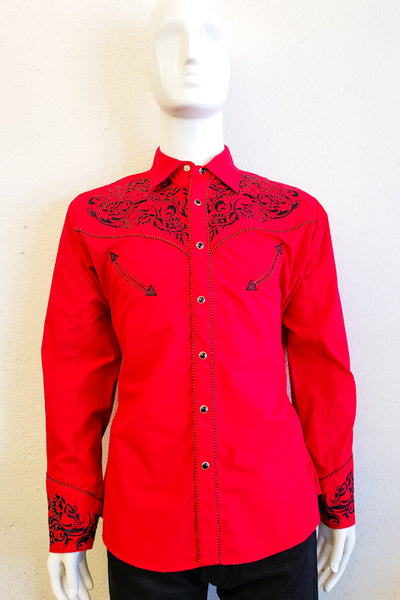 Ace of Diamond Men's Red Western Long Sleeve Shirt 04490 RED