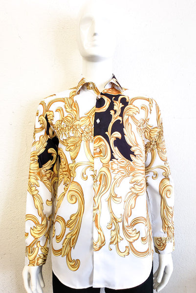 Suslo Couture Men's Gold Print Long Sleeve Shirt SC808-20 GLD