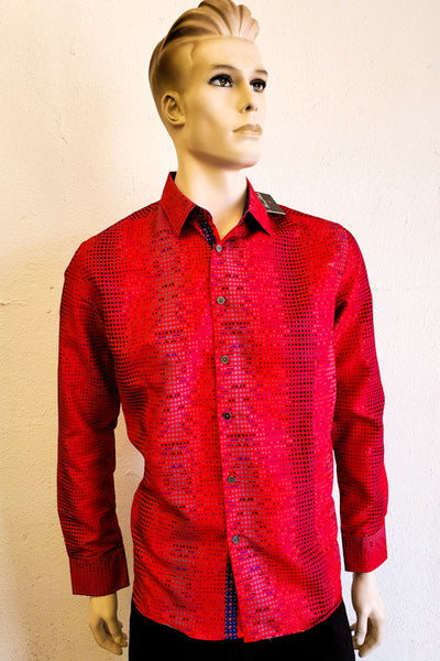 House of Lords Men's Red Print Long Sleeve Shirt HL-S2002L245 RED