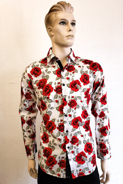 American Breed Men's Red Print Long Sleeve Shirt AB191-43L RED