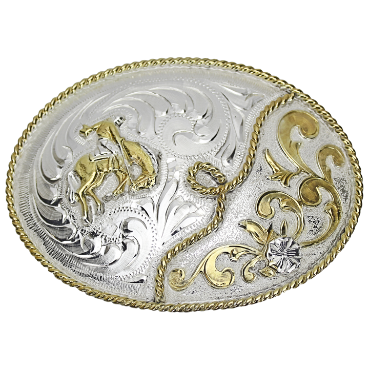 Belt Buckle Oval Bucking Bronco