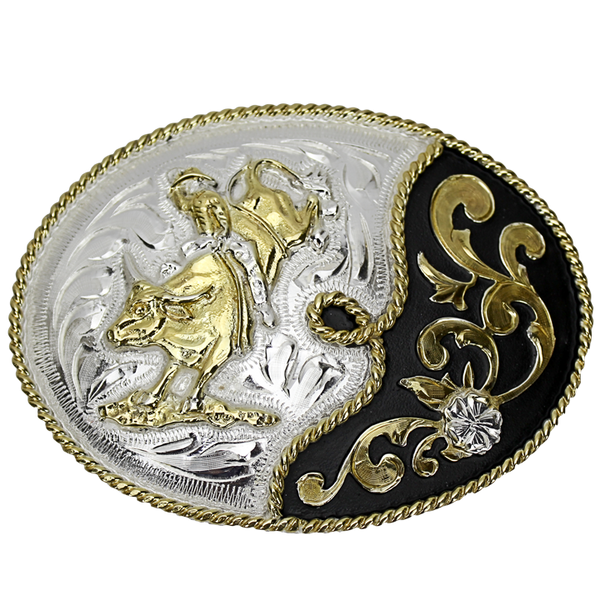 Belt Buckle Oval Bull Rider