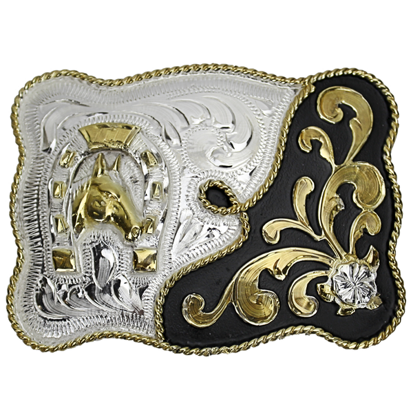 Belt Buckle Rectangle Horseshoe/Horse Head
