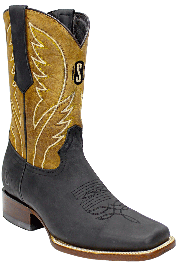 Silverton® All Leather Square-Toe Boots (Black/Honey)
