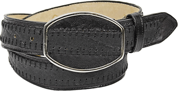 Admirable® Elephant Print Stitched Leather Belt (Black)