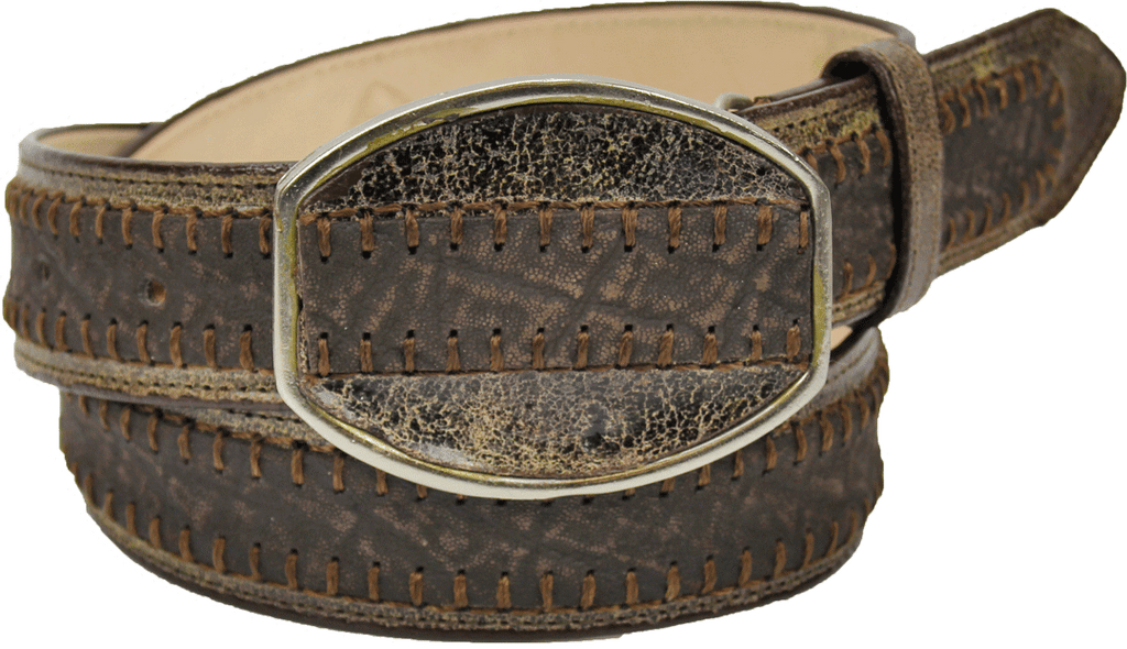 Admirable® Elephant Print Stitched Leather Belt (Brown)