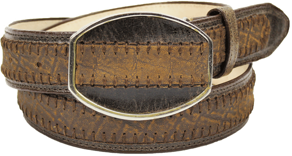 Admirable® Elephant Print Stitched Leather Belt (Cognac)
