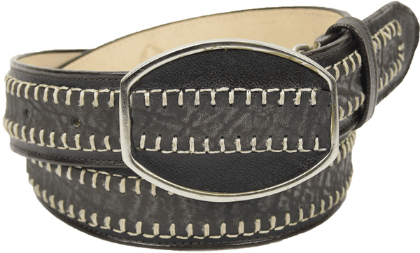 Admirable® Elephant Print Stitched Leather Belt (Gray)