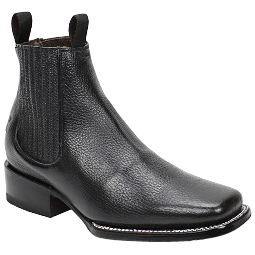 Silverton® Grizzly All Leather Square-Toe Ankle Boots (Black)