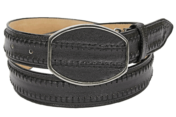 Admirable® Rush Stitched Leather Belt (Black)