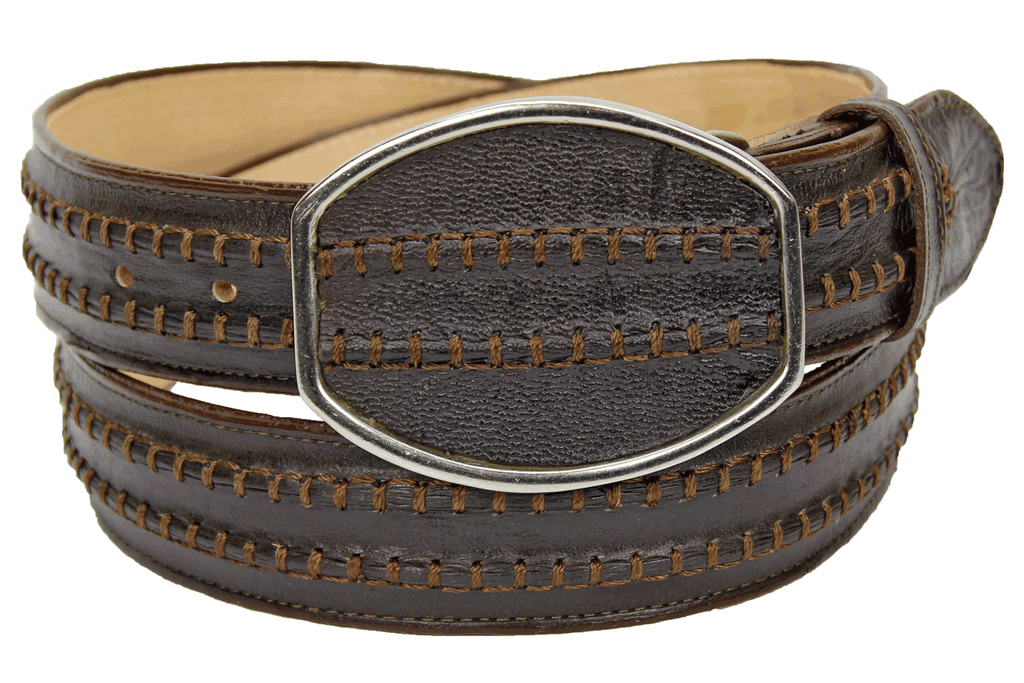 Admirable® Rush Stitched Leather Belt (Brown)