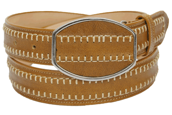Admirable® Rush Stitched Leather Belt (Honey)