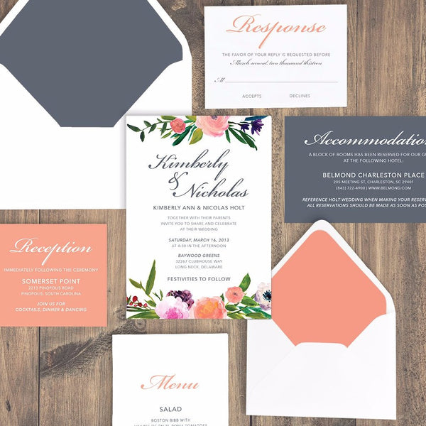 Invitation Shoppe Romantic Floral Coral and Real Grey