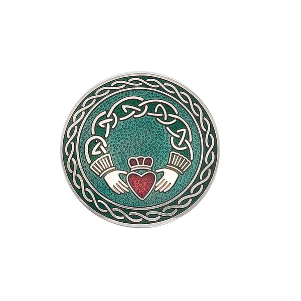 Enamel Celtic Claddagh Brooch Pin