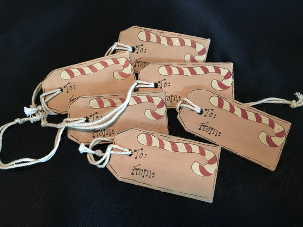 Little Wooden tag with a Candy Cane