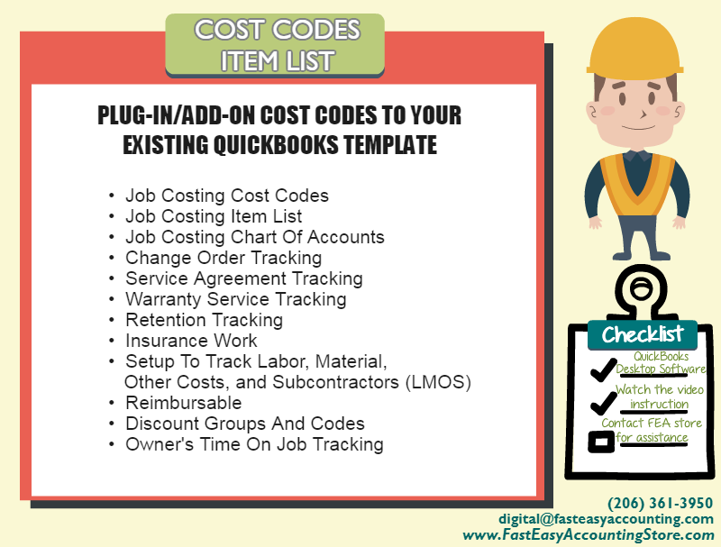 QuickBooks Cost Codes Item List For Construction Contractors