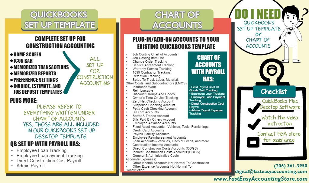 QuickBooks Setup vs Chart Of Accounts on Mac