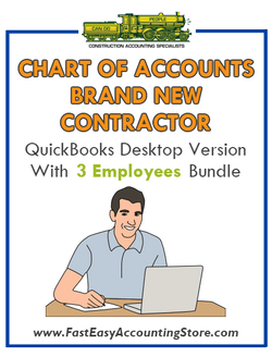 Brand New Contractor QuickBooks Chart Of Accounts Desktop Version 3 Employees Bundle - Fast Easy Accounting Store