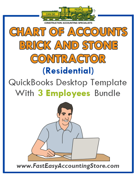 Brick And Stone Contractor Residential QuickBooks Chart Of Accounts Desktop Version With 0-3 Employees Bundle