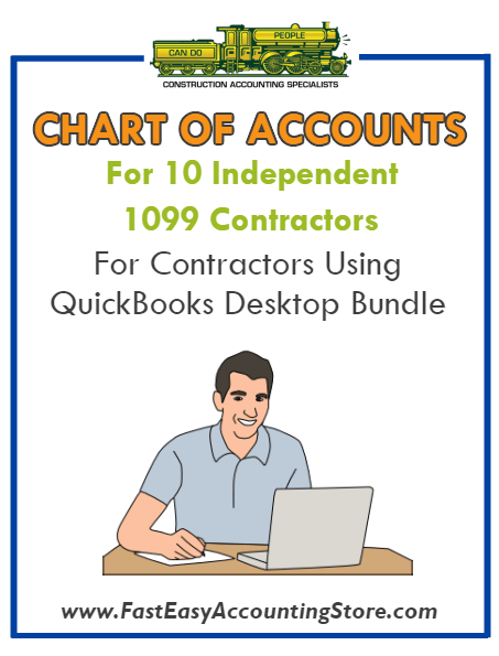Chart Of Accounts For 10 Independent 1099 Contractors For Contractors Using QuickBooks Desktop Bundle - Fast Easy Accounting Store