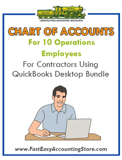 Chart Of Accounts For 10 Sales Employees For Contractors Using QuickBooks Desktop Bundle