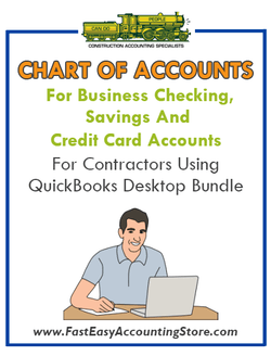 Chart of Accounts For Personal Checking, Savings And Credit Cards For Contractors Using QuickBooks Desktop Bundle