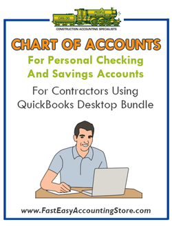 Chart of Accounts For Personal Checking And Savings For Contractors Using QuickBooks Desktop Bundle