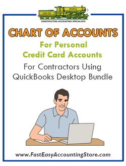 Chart of Accounts For Personal Credit Cards For Contractors Using QuickBooks Desktop Bundle