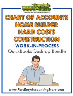 QuickBooks Chart Of Accounts Hard Costs Construction For Home Builder (WIP) Desktop Bundle