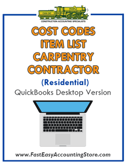 Carpentry Contractor Residential QuickBooks Cost Codes Item List Desktop Version Bundle