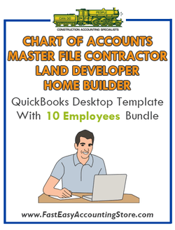 Land Developer And Home Builder Master File Contractor Residential QuickBooks Chart Of Accounts