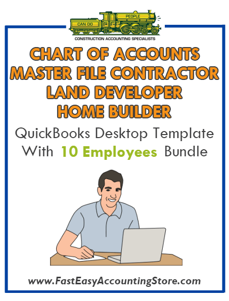 Land Developer And Home Builder Master File Contractor QuickBooks Chart Of  Accounts Desktop Version Bundle