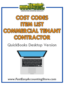 Commercial Tenant Improvement Contractor QuickBooks Cost Codes Item List Desktop Version Bundle - Fast Easy Accounting Store