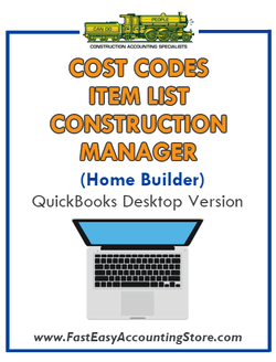 Construction Manager Home Builder QuickBooks Cost Codes Item List Desktop Version Bundle