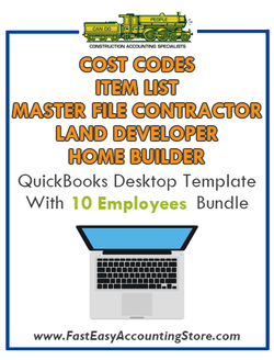 Land Developer And Home Builder Master File Contractor QuickBooks Cost Codes Item List Desktop Version Bundle - Fast Easy Accounting Store