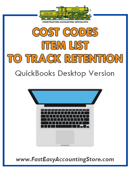 QuickBooks Cost Codes Item List To Track Retention Desktop Version Bundle - Fast Easy Accounting Store