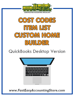 Custom Home Builder QuickBooks Cost Codes Item List Desktop Version Bundle