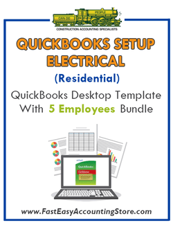 Residential Electrical Contractor QuickBooks Desktop Version With 5 Employees Bundle