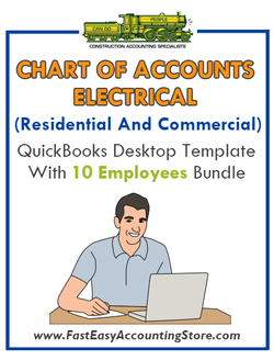 Electrical Contractor Residential And Commercial QuickBooks Chart Of Accounts Desktop Version With 10 Employees Bundle