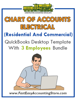 Electrical Contractor Residential And Commercial QuickBooks Chart Of Accounts Desktop Version With 3 Employees Bundle