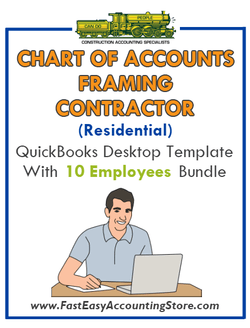 Framing Contractor Residential QuickBooks Chart Of Accounts Desktop Version With 0-10 Employees Bundle