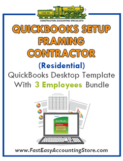 Framing Contractor Residential QuickBooks Setup Desktop Template 0-3 Employees Bundle - Fast Easy Accounting Store